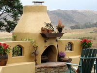 Adobe Outdoor Fireplace