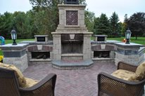 Backyard Fireplace Kit Outdoor Fireplace OGS Landscape Services Whitby, ON