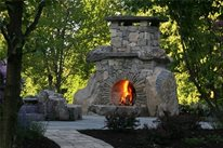 Unique Stone Fireplace Landscape Aesthetics Bernardsville, NJ