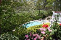 Aggregate Deck, Spa Swimming Pool Elaine M. Johnson Landscape Design Centerville, MA