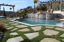 Raised Bond Beam Pool, Flagstone And Grass Swimming Pool Quality Living Landscape San Marcos, CA