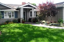Front Yard, Lawn, Sprinklers Front Yard Landscaping Aesthetic Gardens Mountain View, CA