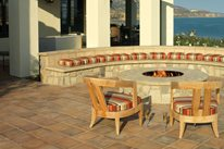 Fire Pit, Built In Seating, Saltillo Tiles ARTO Brick and California Pavers Gardena, CA