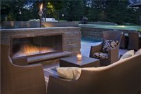 Low Outdoor Fireplace Swimming Pool Zaremba and Company Landscape Clarkston, MI