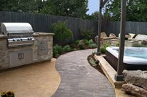 Curved Paver Path, Built In Grill Fire Pit The Garden Artist, LLC Boise, ID
