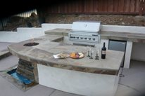 U Shaped Outdoor Kitchen, Integrated Fire And Water Feature Outdoor Kitchen Quality Living Landscape San Marcos, CA
