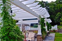 White Pergola, Decorative End Cuts, Masonry Columns Liquidscapes Pittstown, NJ