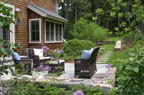 Back Patio, Stone Paving, Wicker Furniture A. Bonadio & Sons, Inc. Waltham, MA