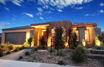 Modern Desert Front Yard Lighting Landscaping Network Calimesa, CA
