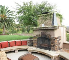 Fireplace, Flagstone, Seating, Bench Outdoor Fireplace DC West Construction Inc. Carlsbad, CA