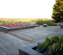 contemporary patio with wood decking