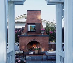 outdoor fireplace mantle