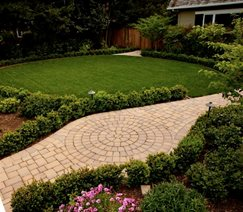 Paver Walkway, Lawn, Drip Irrigation Walkway and Path Aesthetic Gardens Mountain View, CA