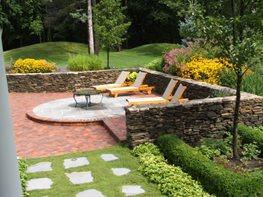 Brick Patio, Chaise Lounges, Stone Walls Patio Milieu Design Wheeling, IL