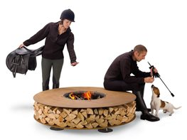 Rusted Steel Fire Features with Integrated Wood Storage