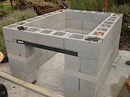 block outdoor kitchen construction