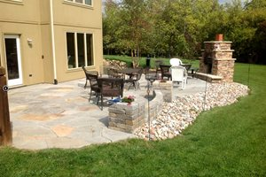 Backyard Flagstone Patio Backyard Landscaping Turf Designers Lees Summit, MO