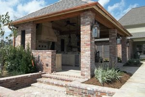 Brick Ramada, Brick Columns, Brick Steps Backyard Landscaping Angelo's Lawn-Scape Of Louisiana Inc Baton Rouge, LA