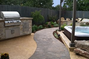 Curved Paver Path, Built In Grill Backyard Landscaping The Garden Artist, LLC Boise, ID