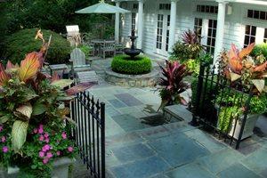 Cut Flagstone, Gray Backyard Landscaping Sisson Landscapes Great Falls, VA