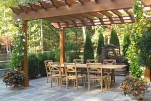 Flagstone, Patio, Gray Backyard Landscaping Sisson Landscapes Great Falls, VA