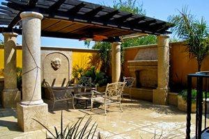 Pergola Columns, Mediterranean Pergola, Patio Pergola Backyard Landscaping LandPlan's Landscaping Pleasanton, CA