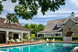 Pool Traditional, Brick, Pool House Backyard Landscaping Liquidscapes Pittstown, NJ