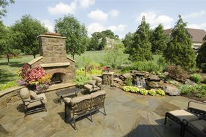 Stone Fireplace, Stone Patio Backyard Landscaping Rice's Nursery & Landscaping North Canton, OH