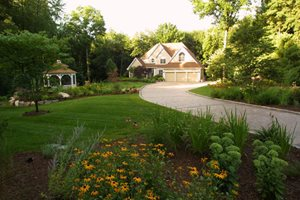 Large Front Yard Lawn And Plantings Northeast Landscaping Neave Group Outdoor Solutions Stamford, CT