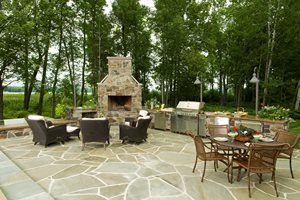 Backyard Stone Fireplace Outdoor Fireplace Lake Street Design Studio Petoskey, MI