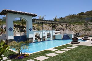 Backyard Waterslide Outdoor Kitchen The Green Scene Chatsworth, CA