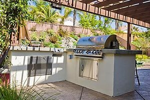 L Shaped Outdoor Kitchen Revive Landscape Design San Diego, CA