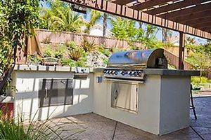 L Shaped Outdoor Kitchen Revive Landscape Design San Diego, CA