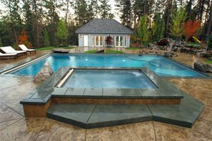 Washington Swimming Pool Outdoor Kitchen Copper Creek Landscaping, Inc. Mead, WA