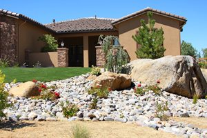 Desert Front Yard, Dry Streambed Patio Signature Landscapes Huntsville, AL