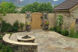 Flagstone, Paving, Patio, Fire Pit Patio Accent Landscapes Colorado Springs, CO