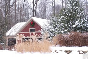 Snow Covered Landscape, Winter Garden Patio Blue Ridge Landscaping Holland, MI