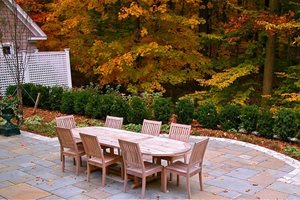 Square Stone Patio, Teak Dining Table Patio Liquidscapes Pittstown, NJ