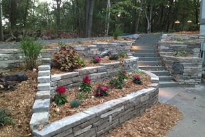 Dry Stone Retaining Wall, Solid Bluestone Steps Retaining and Landscape Wall Arabella Stone Co. Minneapolis, MN