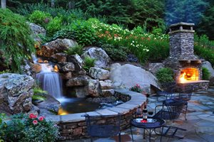 Backyard Waterfall, Waterfall Lighting Greenleaf Services Inc. Linville, NC