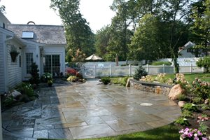 Cleft Bluestone Patio Captain's Landscape Design and Build Duxbury, MA