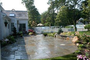 Cleft Bluestone Patio Captain's Landscape Design and Build Duxbury, MA