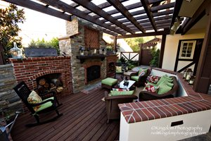 Fireplace Deck, Brick Woodboxes, Open Beam Woodwork Lifescape Designs Simi Valley, CA