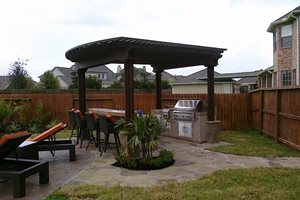 Grill, Pergola, Backyard, Barstools RockFrog Backyard Escapes Katy, TX