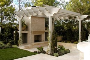 Pergola And Fireplace AMS Landscape Design Studios Newport Beach, CA