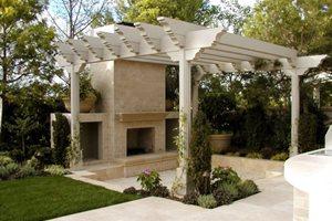 Pergola And Fireplace AMS Landscape Design Studios Newport Beach, CA