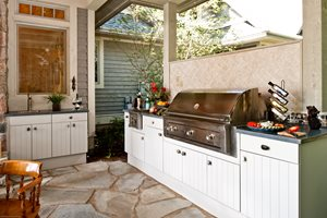 White Grill Cabinets, Dark Countertop Lake Street Design Studio Petoskey, MI