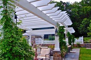 White Pergola, Decorative End Cuts, Masonry Columns Liquidscapes Pittstown, NJ