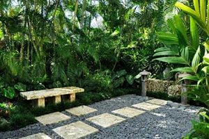 Courtyard, Bench, Asian, Lantern Small Yard Landscaping Craig Reynolds Landscape Architecture Key West, FL
