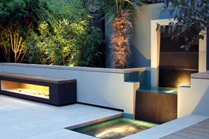 Urban Garden, Granite Water Feature Small Yard Landscaping MyLandscapes LTD London, UK